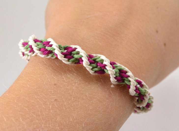 Add color to your wrist with easy Kumihimo hemp bracelets.