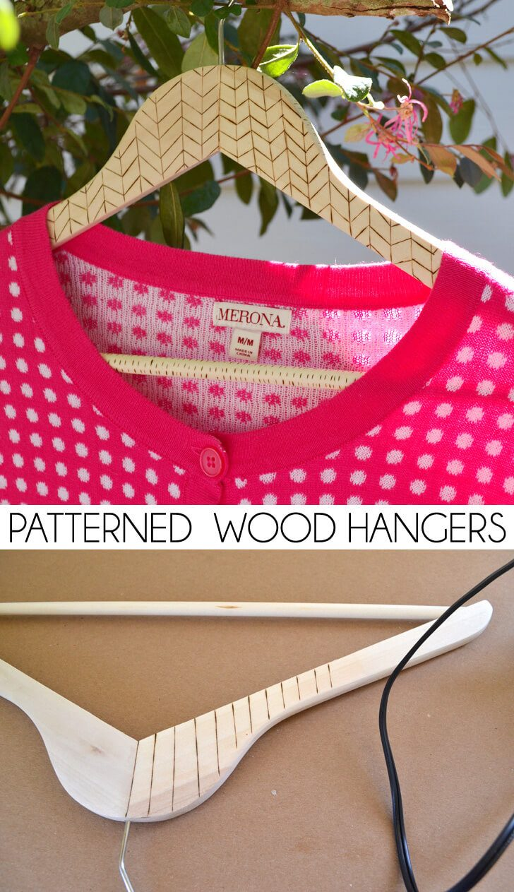 Burned Wood Clothes Hangers