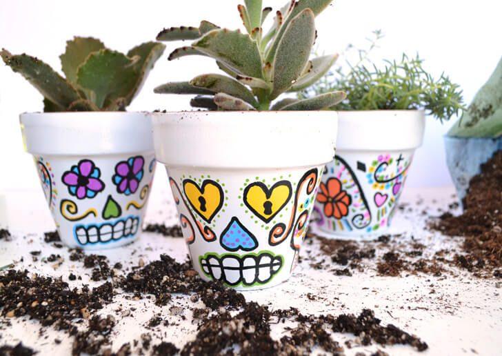 DIY Sugar Skull Flower Pots - Dream a Little Bigger