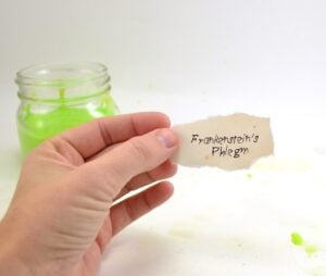 Ew! Frankenstein's phlegm! Super cute with the mad scientist-like label! Free printable and no fail slime tutorial.