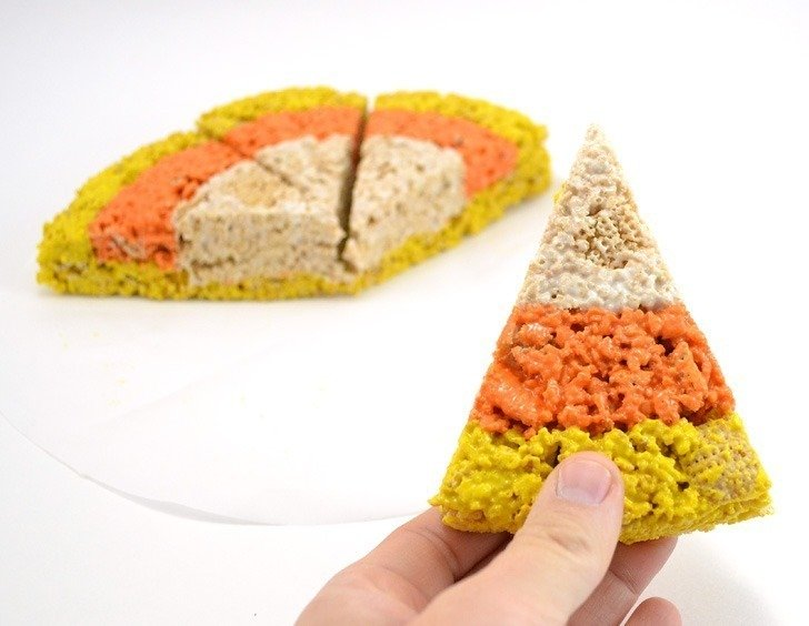 I love these marshmallow rice treats that look like candy corn. SO CUTE!!!