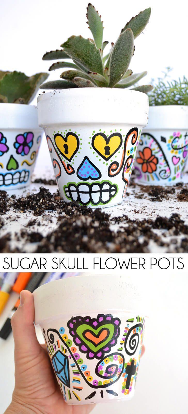 DIY Sugar Skull Flower Pots