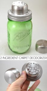 Love that clean smell but hate all of the chemicals? Make your own 2 ingredient carpet deodorizer. It's way less expensive than store bought with no harmful chemicals!