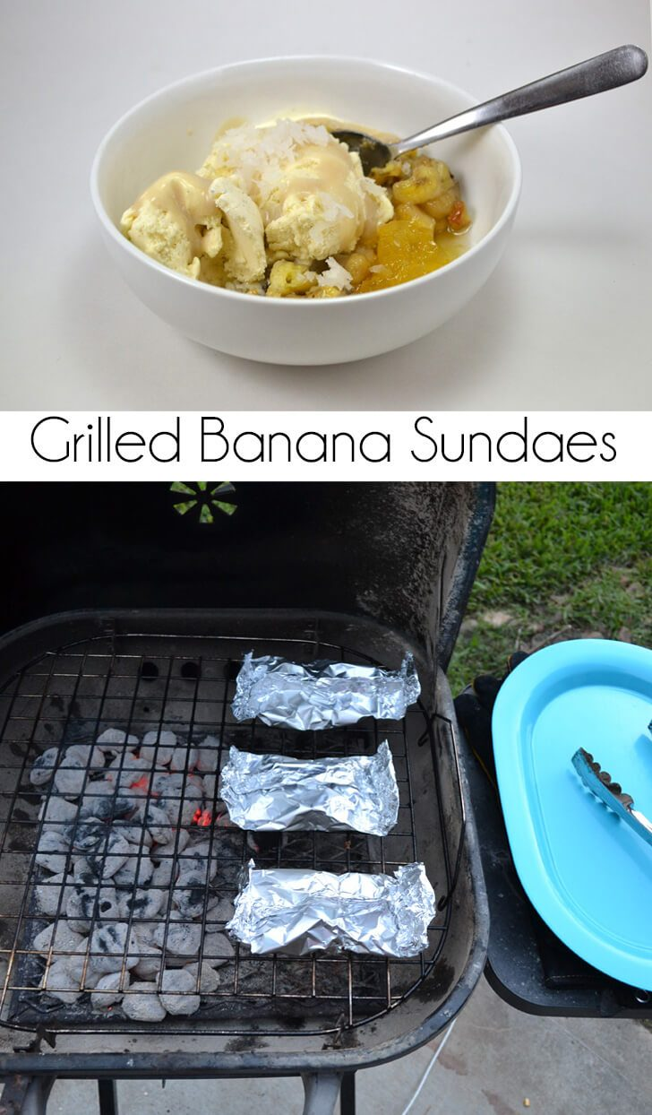 Grilled bananas with pineapple and ice cream plus a coconut cream sauce? Delish!