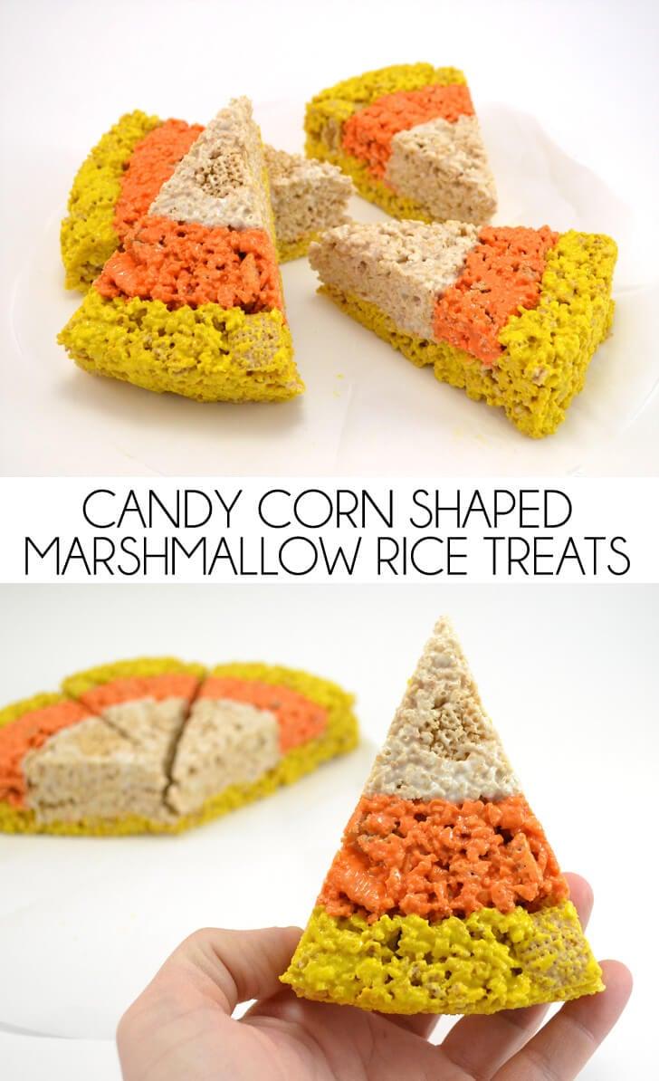 Candy Corn Shaped Marshmallow Rice Treats