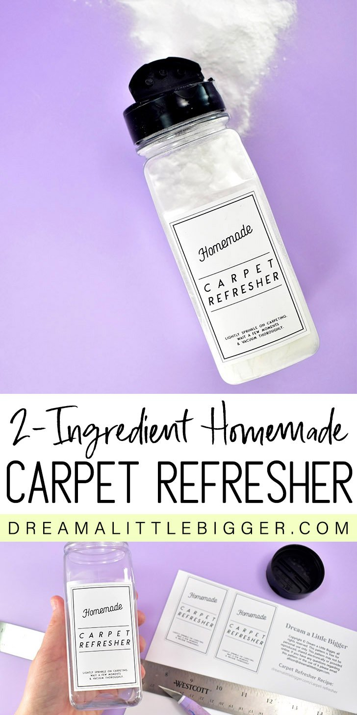 In only 5 minutes with just 2 ingredients you can have your own homemade carpet refresher that deodorizes and smells amazing.+ FREE printable labels.