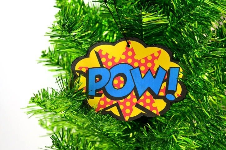 Have a comic book reader? These comic expression Christmas ornaments will be just the ticket for a fun, action packed Christmas tree! Free printable and low cost tutorial!