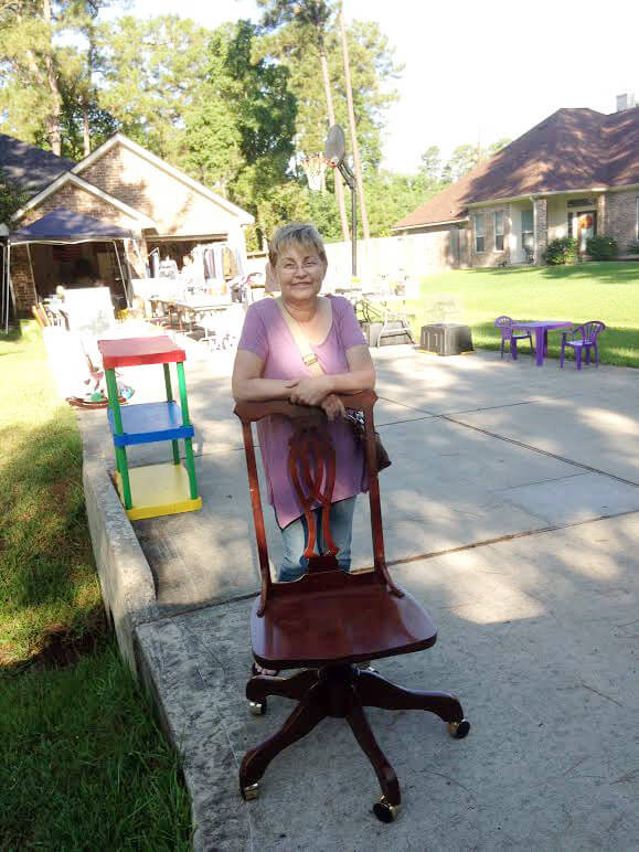 This is an amazing makeover for a garage sale wooden office chair!