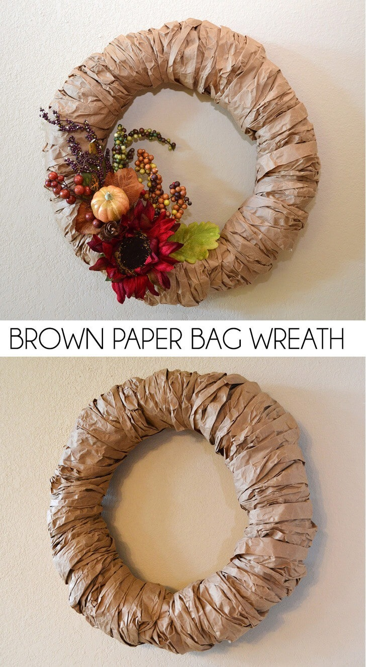 Recycle brown paper and make a fabulous brown paper bag wreath to decorate as you please. It's the perfect Autumn wreath!