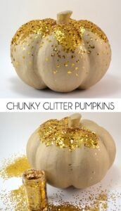Chunky glitter pumpkins are super easy to make and add fun flair to your fall decor!