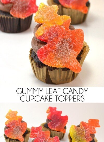 Grab some gum drops or candy fruit slices and make adorable fall leaf cupcake toppers!