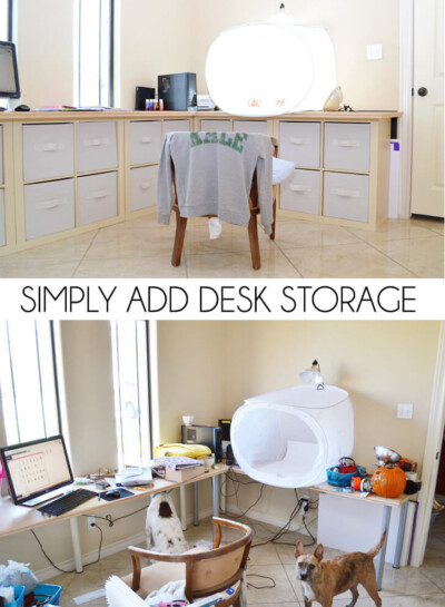 Cube organizers and a homemade desktop and you've got some serious storage and the perfect home office! It really is a great way to simply add desk storage!