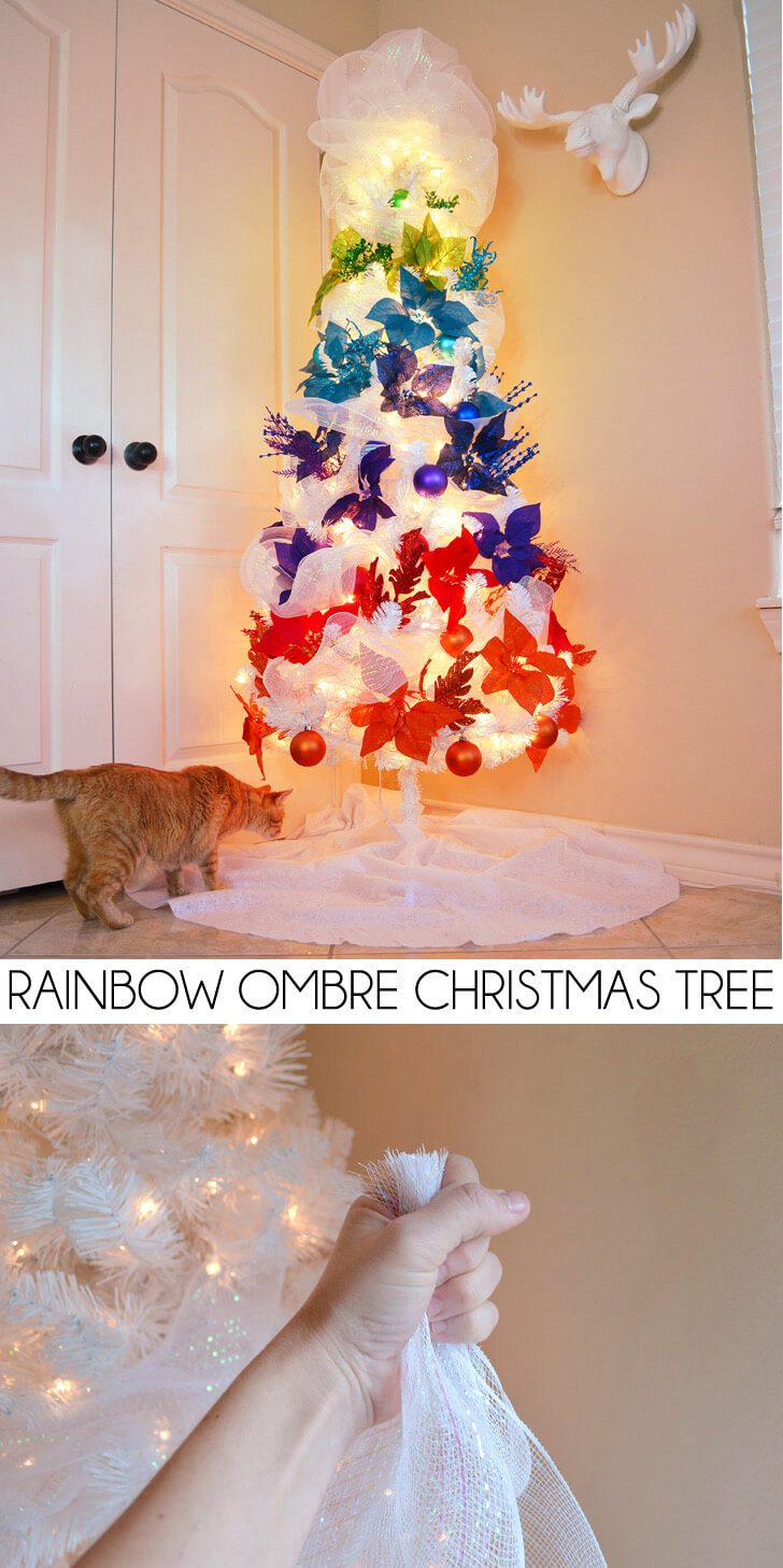 How to Fill Out a White Christmas Tree… My Rainbow Ombre Christmas Tree