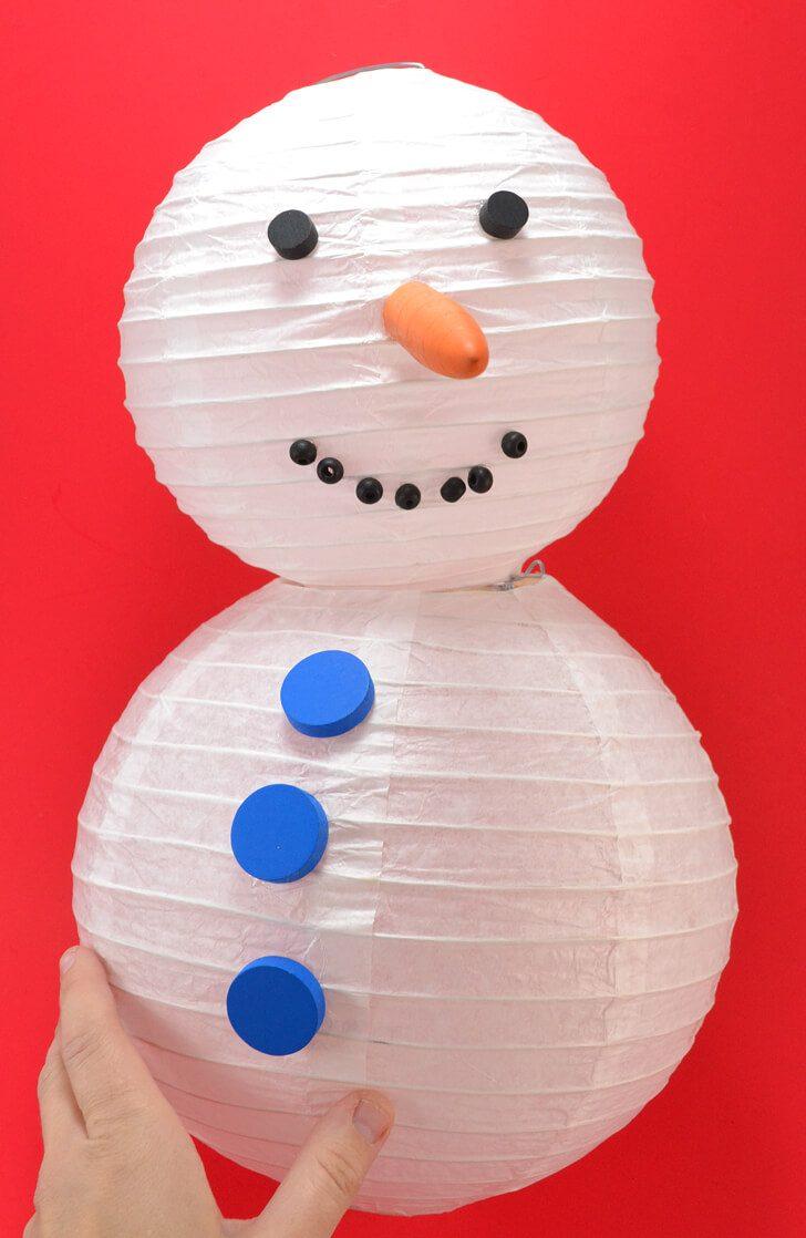 No snow? No problem! Make the cutest paper lantern snowman!