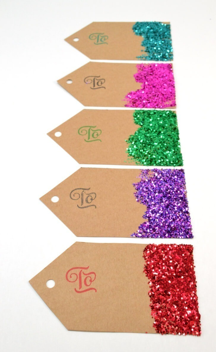 Make gift tags from scratch and save big bucks! Glitter is super cute but you can decorate them any way you please!