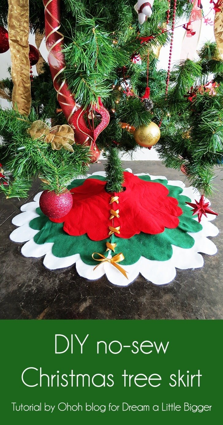 How to make a no sew christmas tree skirt dream little