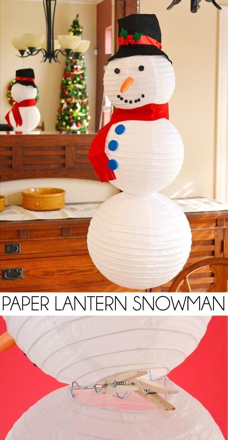 No snow? No problem! Make the cutest paper lantern snowman!