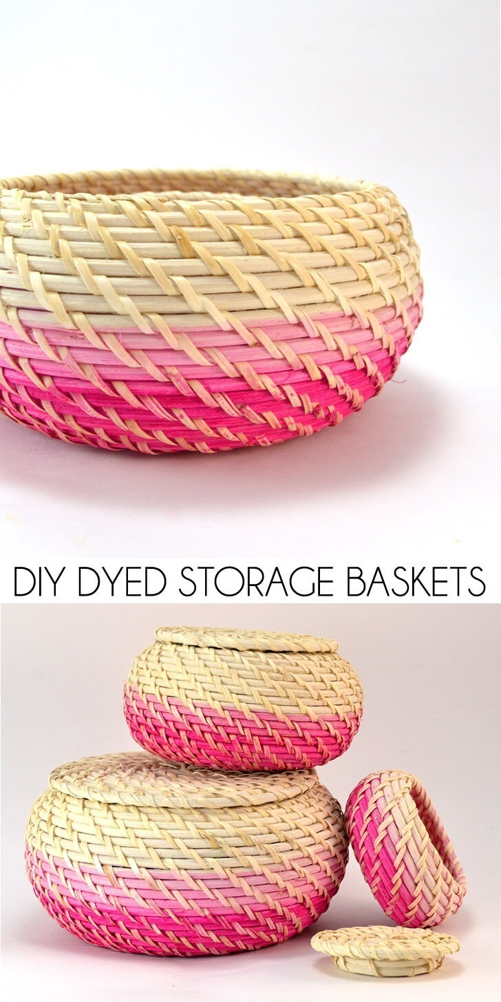 Add a pop of your favorite color to your home on the cheap with DIY dyed storage baskets!