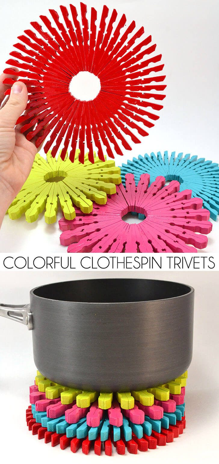 Colorful Clothespin Trivets