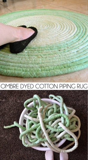 Raid the cotton piping at the craft store and get on this soft and puffy and amazing DIY rug!