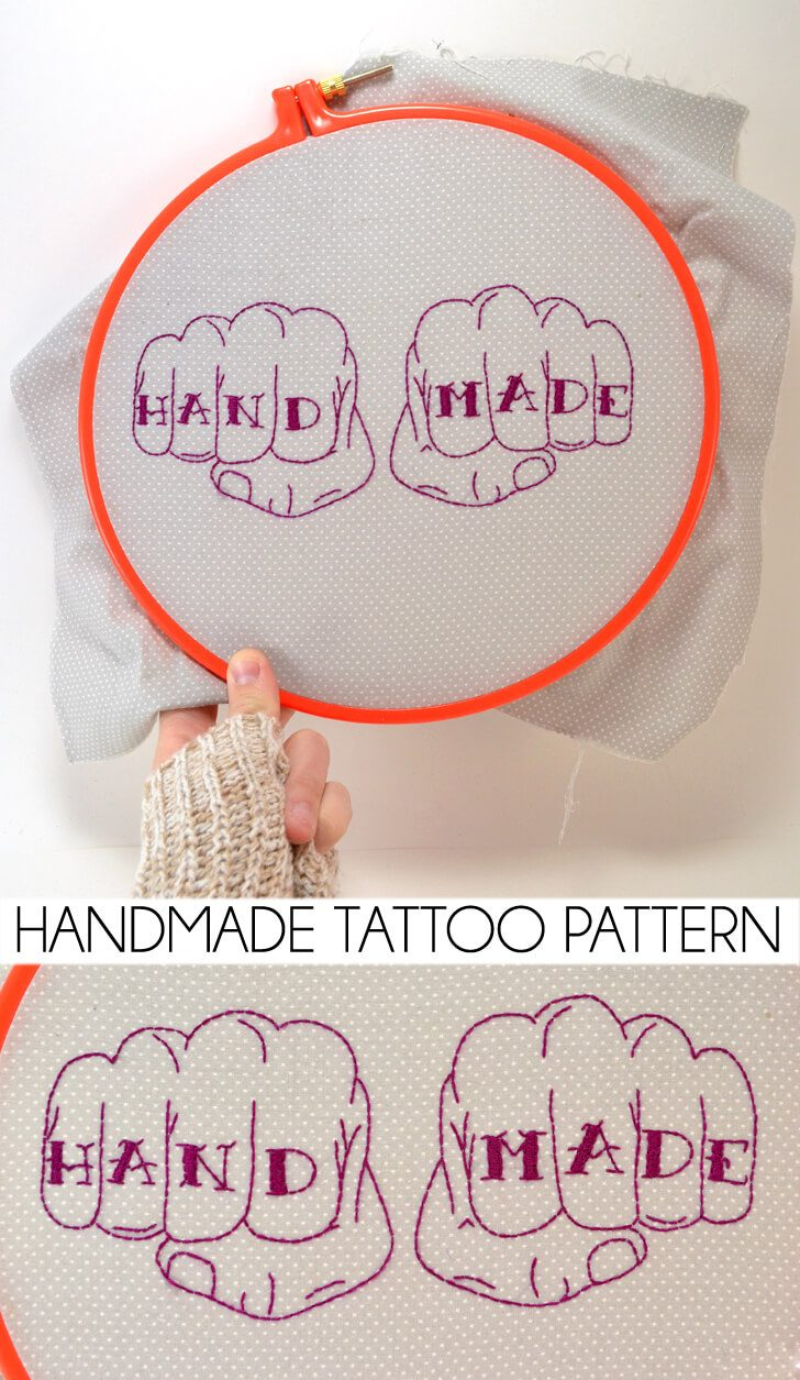 Download the free pattern to make your own handmade tattoo embroidery piece!