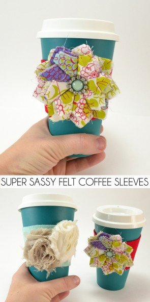Inexpensive felt meets pretty embellishments to make some super sassy DIY Felt Coffee Sleeves