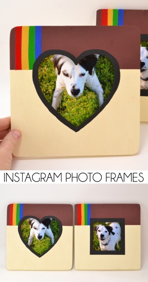 Giving a nod to social media's most popular way to share pics, these instagram photo frames are cheap, easy and perfect for tech savvy decor!