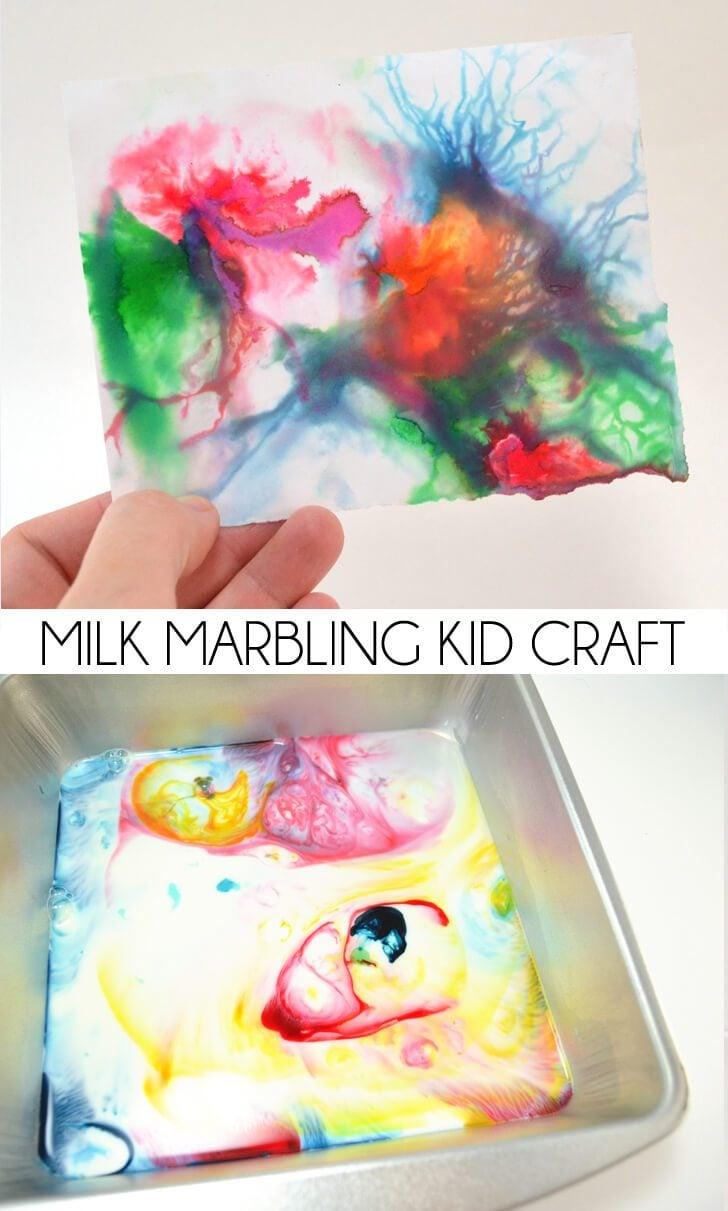 Milk Marbling Kid Craft