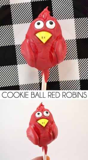 These sweet little robins are so easy to make! The basic Oreo ball pop recipe meets up with a fun new twist as our favorite winter bird - the red robin!