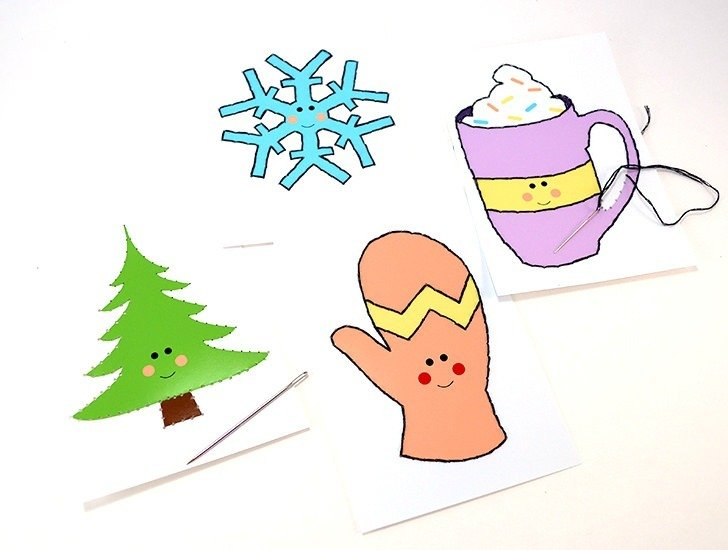 Help kids learn to stitch with these cute winter stitch cards! Freebie!