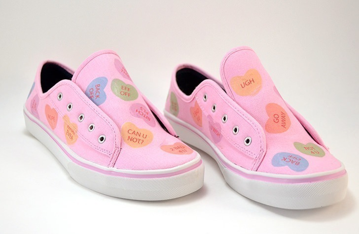 If Valentine's Day isn't your favorite holiday, maybe you'll love these anti-conversation heart sneakers. Free conversation heart and anti-conversation heart printables to use in your crafts!