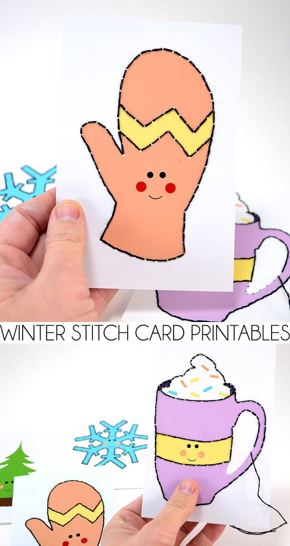 Winter Stitch Card Printables