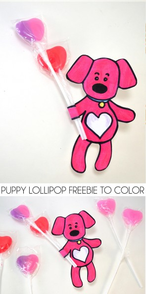 This puppy lollipop freebie to color is SO CUTE. What a fun little Valentine for the kiddos to give!