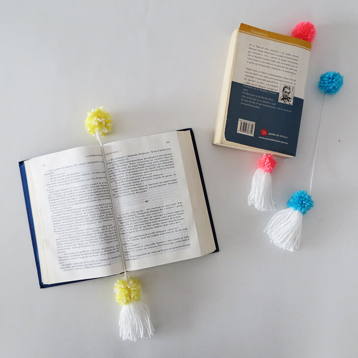 how to make pompon book mark 10