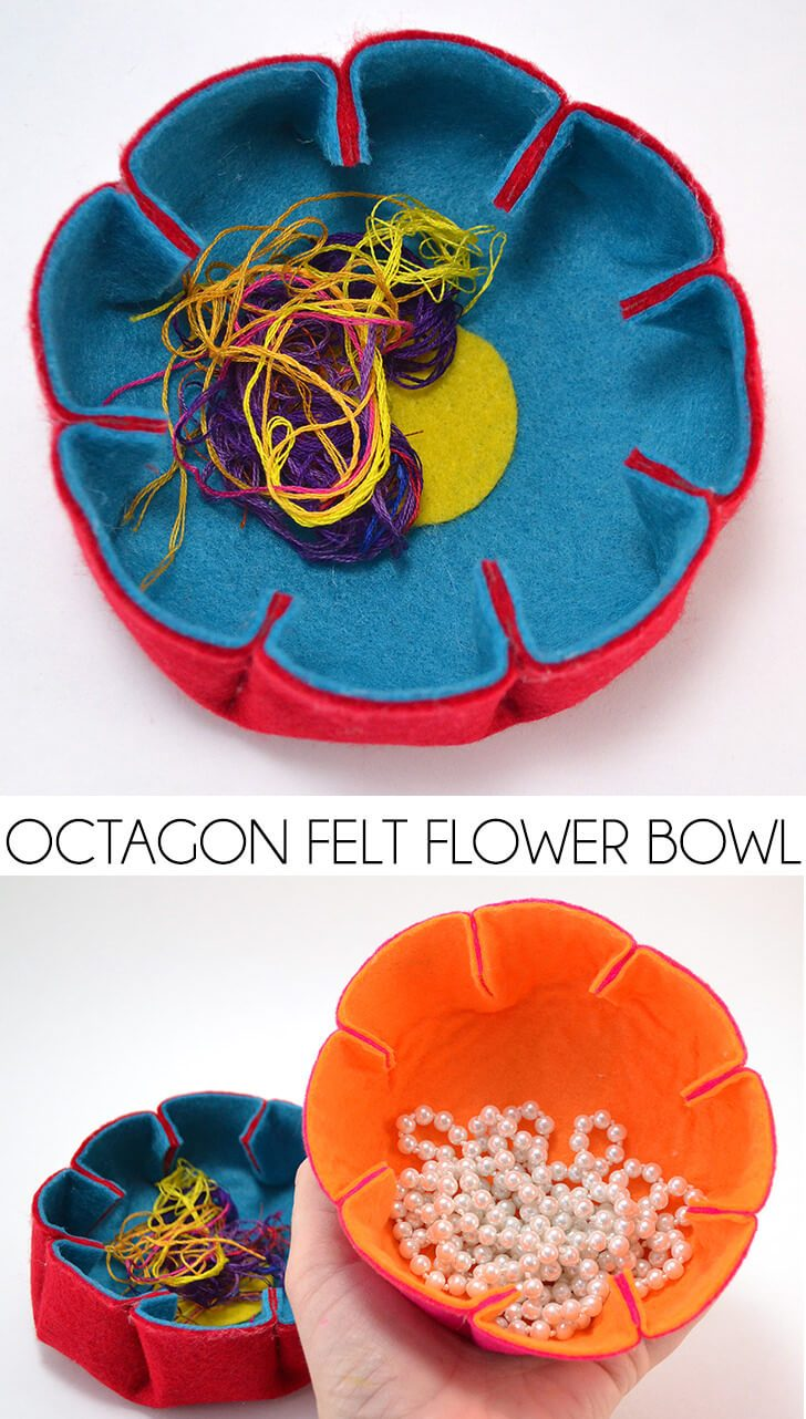 Octagon Felt Flower Bowls