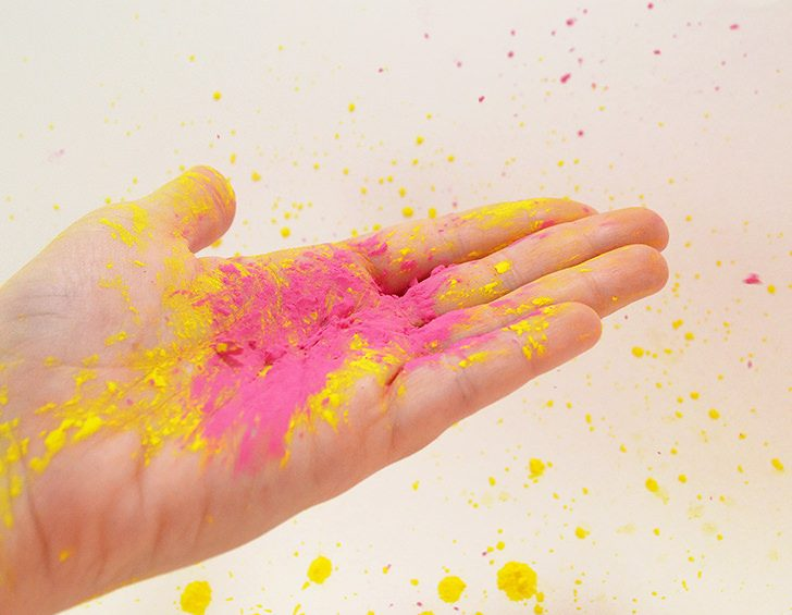 Make homemade Holi color powder with only 3 ingredients.Make your own for color runs or for a kid's party. It's so much fun!