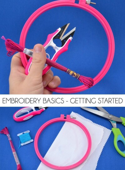 Get the basic knowledge you need to get started with embroidery. From supplies you'll need to the basic back stitch all of the embroidery basics are here!