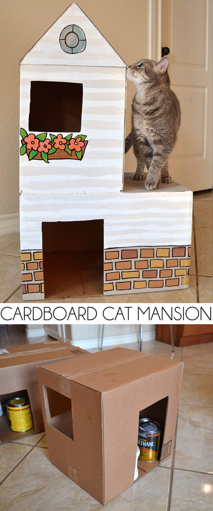 Cardboard Cat Mansion, or a Use for Amazon Prime Boxes