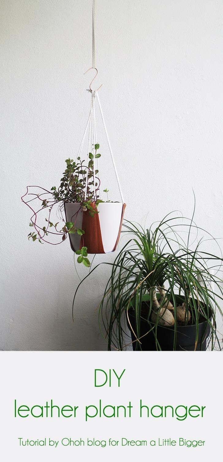 diy leather plant hanger 9