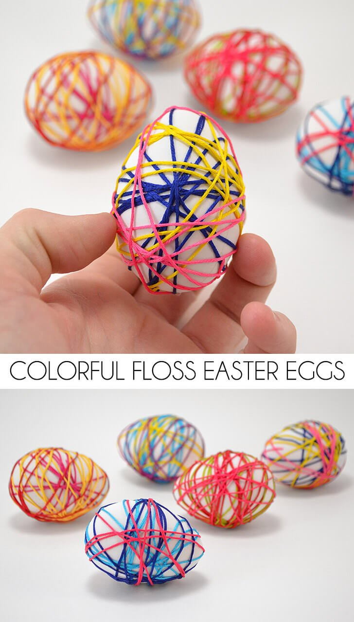 Looking for a dye-free but still colorful and pretty Easter egg craft for the littles? These colorful floss Easter eggs are just the ticket!
