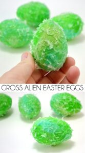 "These gross alien Easter eggs are super easy to make and just the right amount of ""ooh"" for those kids that dig that sort of thing!"