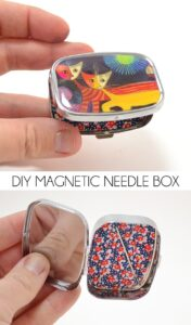 This DIY magnetic needle box is so simple to make and will last for ages! Quit losing your pins and needles because OUCH!