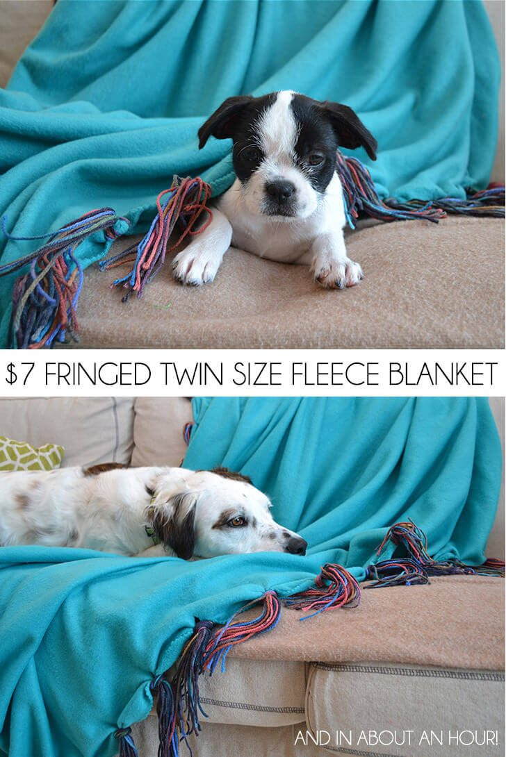 You can make a custom, fringed twin sized fleece blanket for less than $7 and in under an hour! It's so cozy and would be a fun bedspread!
