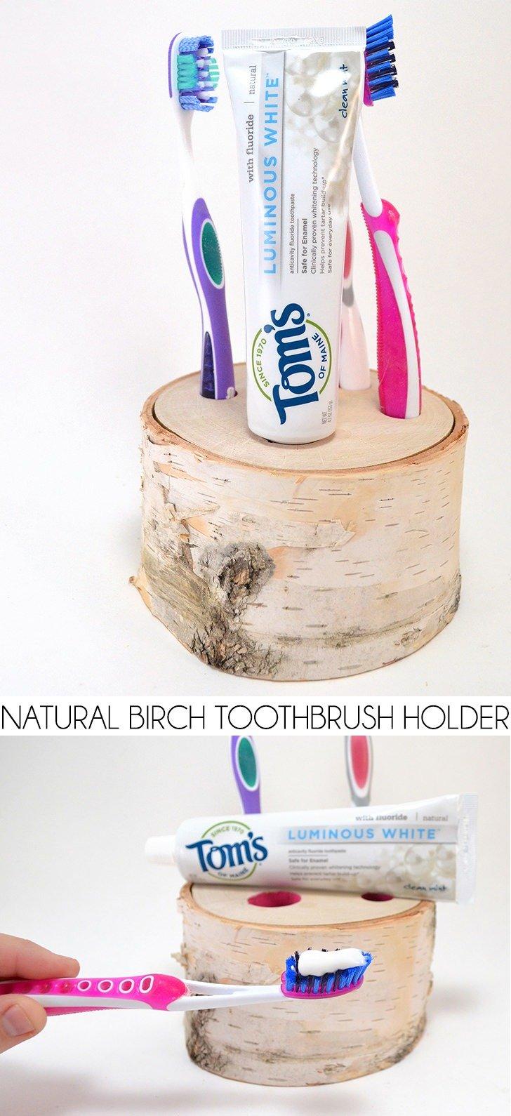 Natural Birch Toothbrush Holder Tutorial Dream A Little