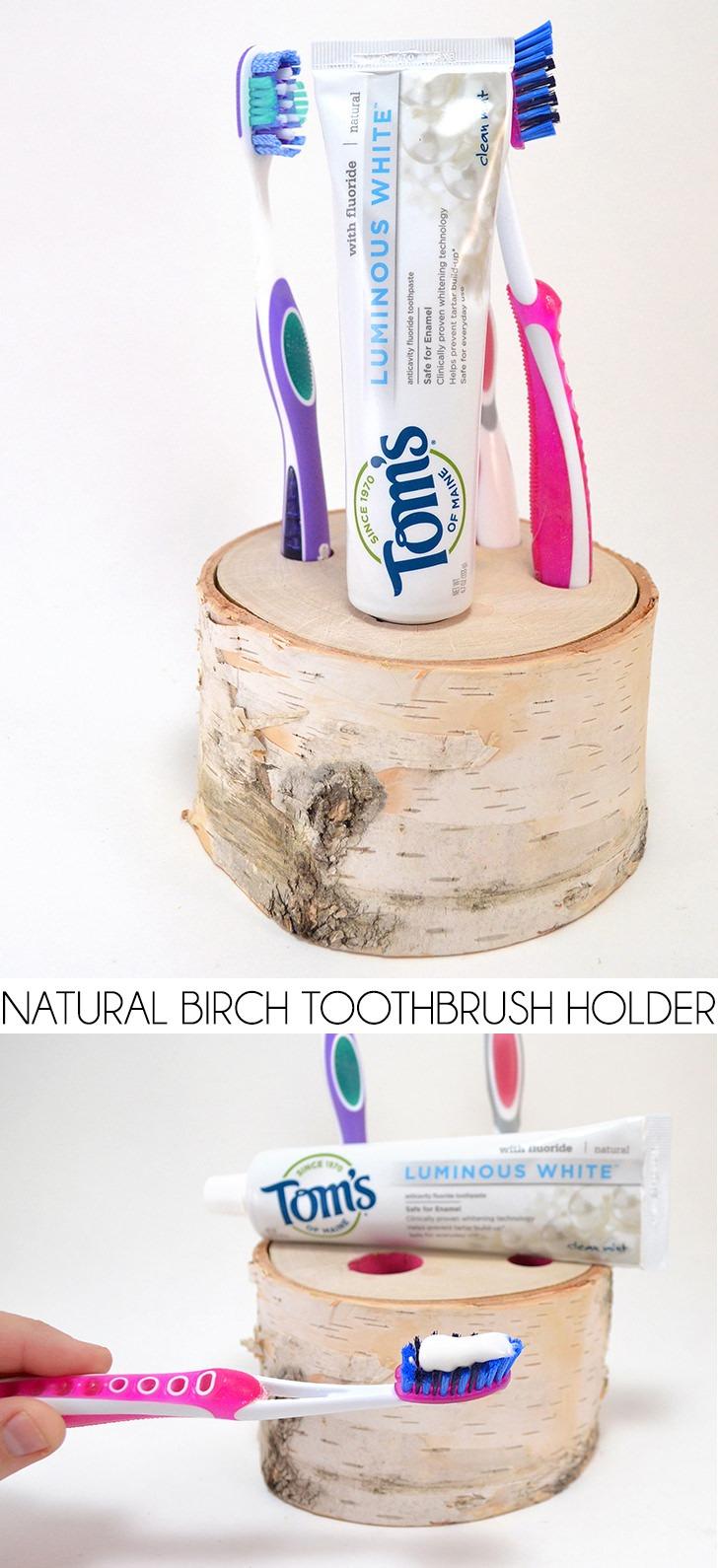 Natural Birch Toothbrush Holder Tutorial