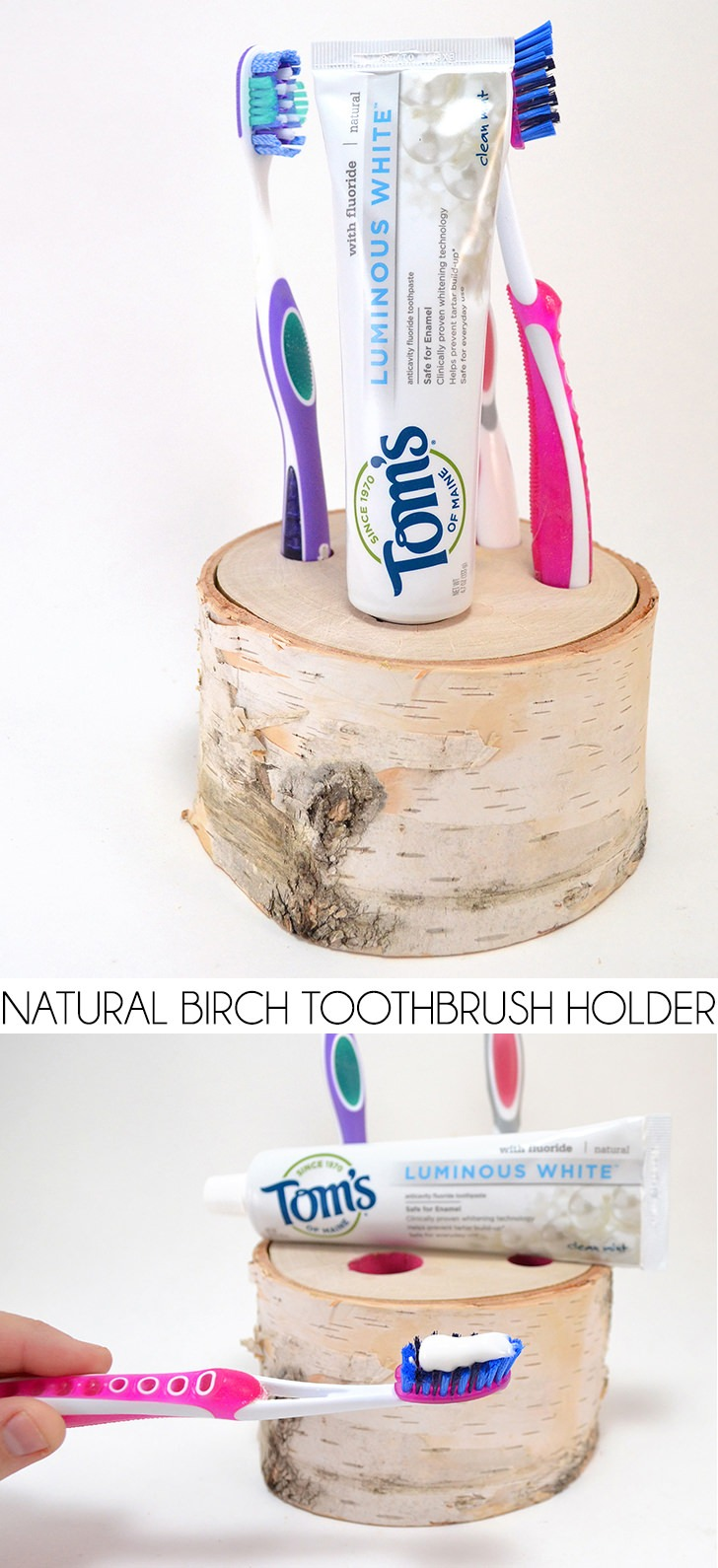 Natural Birch Toothbrush Holder Tutorial