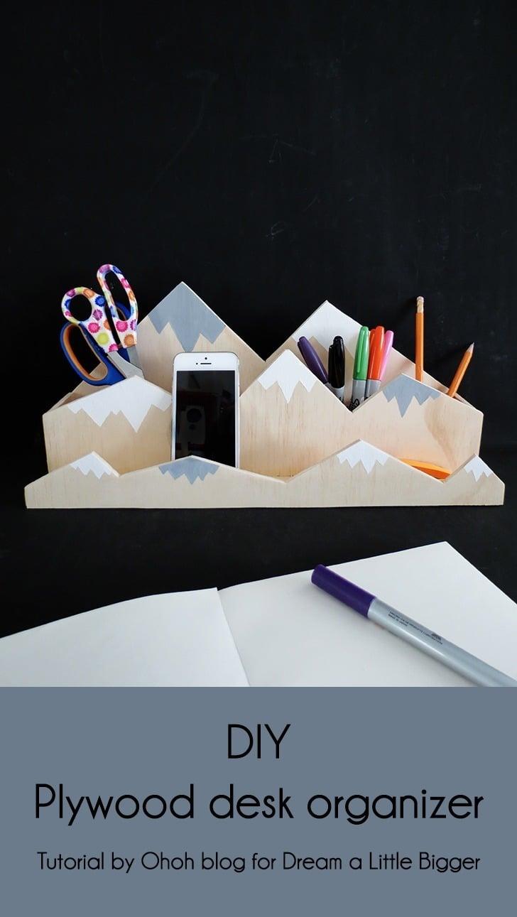 diy plywood desk organizer 1