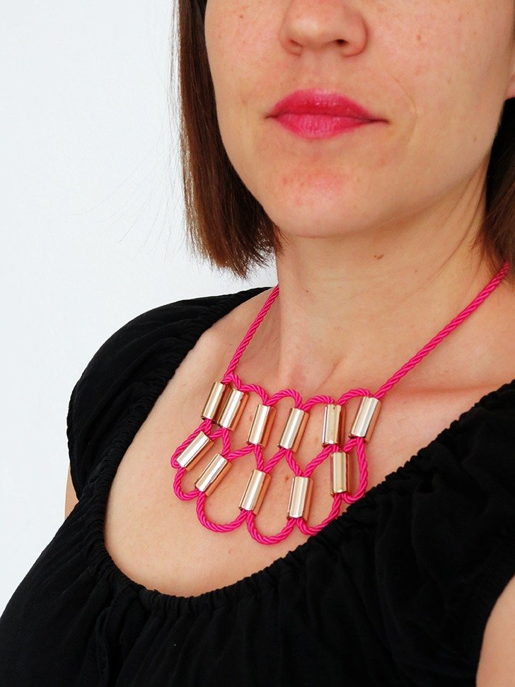 diy rope statement necklace 8