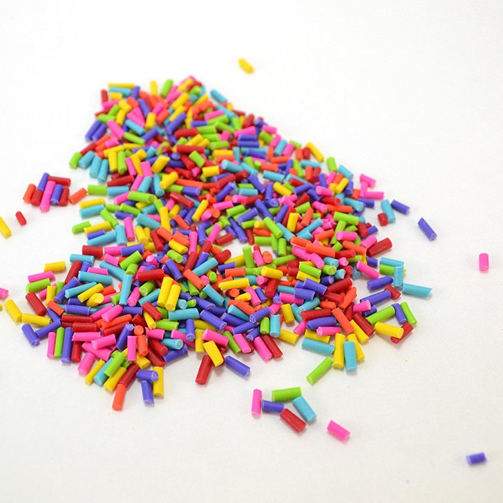 Learn how to make fake sprinkles from polymer clay. It's a fun addition to colorful crafts!