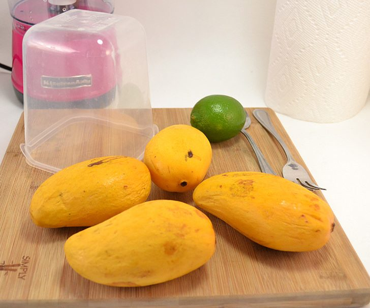 This homemade mango sorbet recipe is tops! It is so simple and it's super creamy but there's no dairy!